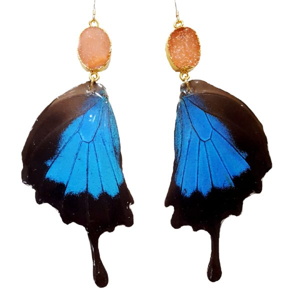 Real Butterfly Wing Jewelry, Real Butterfly Wing Earrings - Peachy Dreams