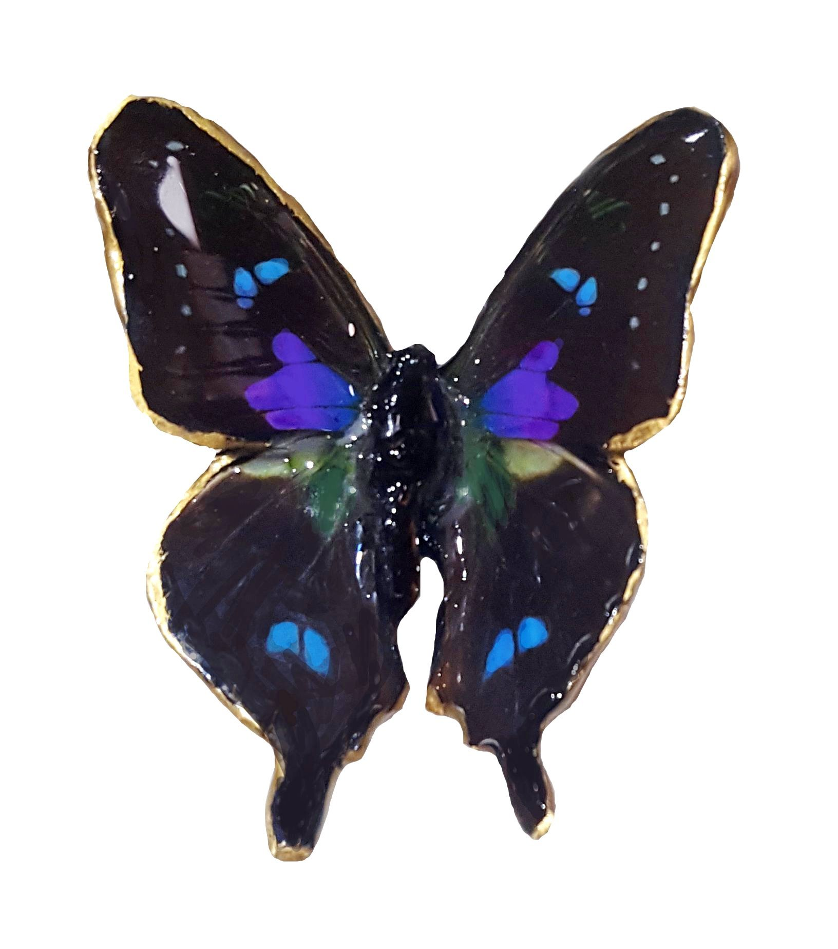 Real Butterfly Wing Jewelry - Spell - Antique Butterfly Brooch