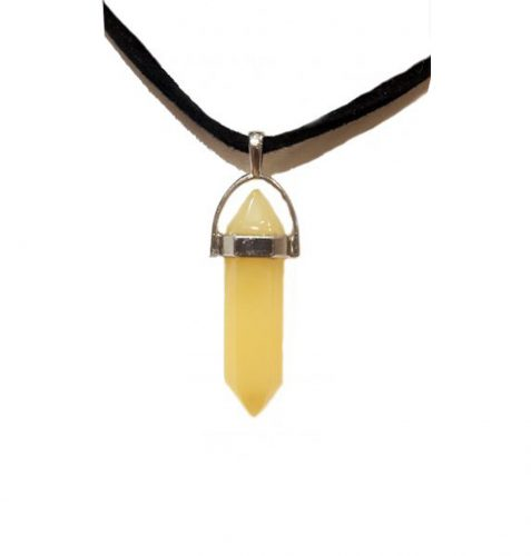 Yellow jade healing point crystal necklace jpeg.