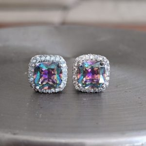 mystic topaz stud earrings, great deals on gemstone jewellery