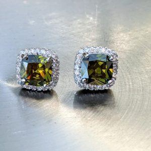 olive green peridot stud earrings cushion jpeg.