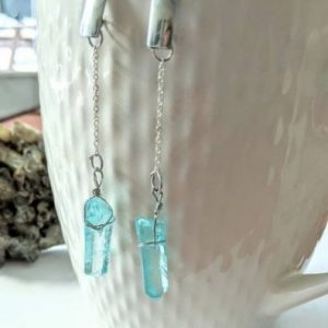 raw aquamarine crystal earrings, Aquamarine Dangle Earrings jpeg.