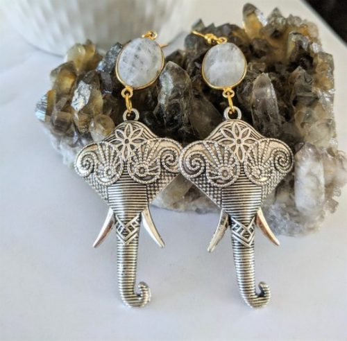 elephant dangle earrings silver jpeg.