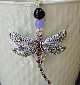 Vintage Dragonfly Necklace With Purple Jade jpeg.