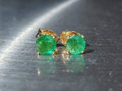 Natural Colombian Emerald stud earrings gold jpeg.